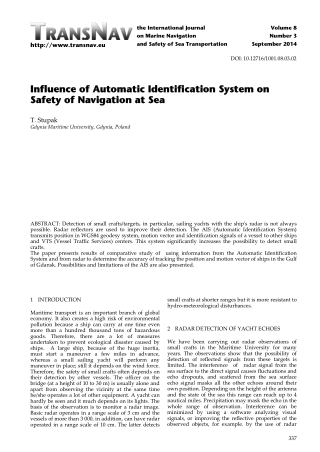 Influence of Automatic Identification System on Influence of Automatic Identification System on Safety of Navigation at Sea Safety of Navigation at Sea