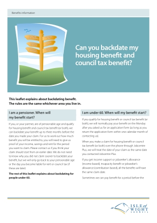 Can you backdate my housing benefit and council tax benefit?