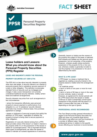 Lease holders and Lessors: What you should know about the Personal Property Securities (PPS) Register