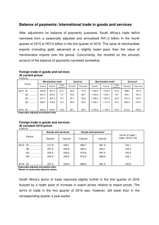 Balance of payments: International trade in goods and services
