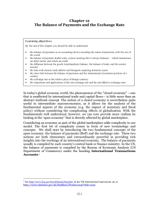 Chapter 12 The Balance of Payments and the Exchange Rate