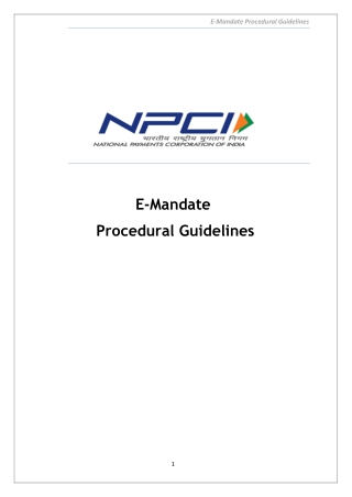 E-Mandate Procedural Guidelines