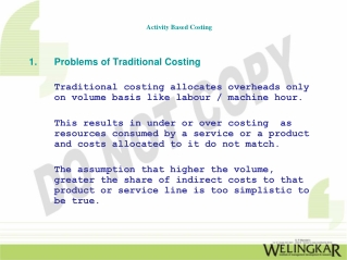 Problems of Traditional Costing