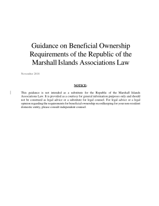 Guidance on Beneficial Ownership Requirements of the Republic of the Marshall Islands Associations Law
