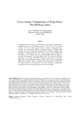 Cross-country Comparisons of Wage Rates: The McWage Index