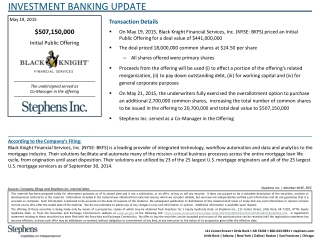 INVESTMENT BANKING UPDATE