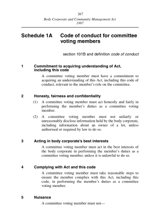 Schedule 1A Code of conduct for committee voting members