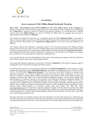 News Release Alexco Announces US$6.5 Million Bought Deal Equity Financing