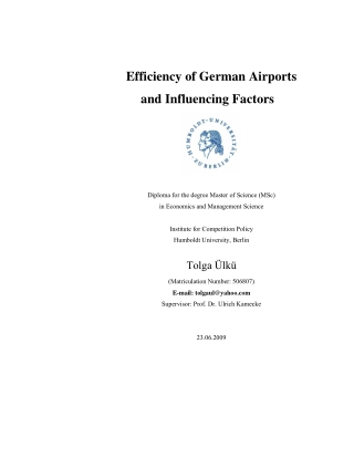 Efficiency of German Airports and Influencing Factors