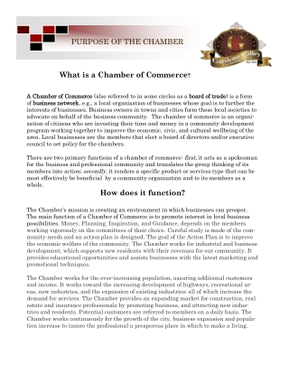 What is a Chamber of Commerce