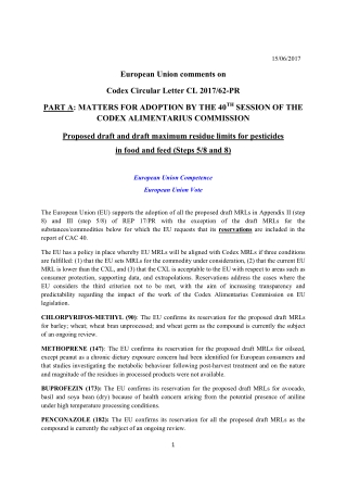 European Union comments on Codex Circular Letter CL 2017/62-PR PART A: MATTERS FOR ADOPTION BY THE 40