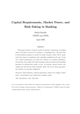 Capital Requirements, Market Power, and Risk-Taking in Banking
