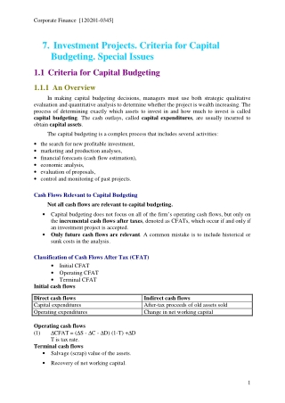 Investment Projects. Criteria for Capital Budgeting. Special Issues