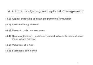 4. Capital budgeting and optimal management