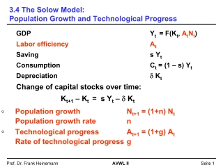 3.4 The Solow Model: Population Growth and Technological Progress