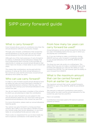 SIPP carry forward guide