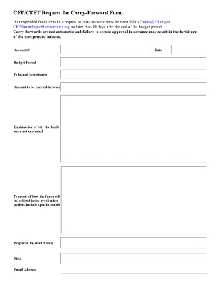 CFF/CFFT Request for Carry-Forward Form