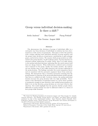 Group versus individual decision-making: Is there a shift?