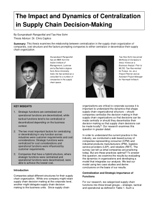 The Impact and Dynamics of Centralization in Supply Chain Decision-Making