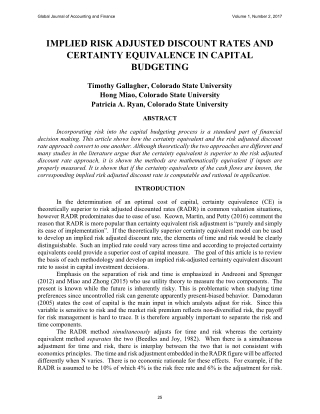 IMPLIED RISK ADJUSTED DISCOUNT RATES AND CERTAINTY EQUIVALENCE IN CAPITAL BUDGETING