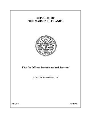 REPUBLIC OF THE MARSHALL ISLANDS Fees for Official Documents and Services