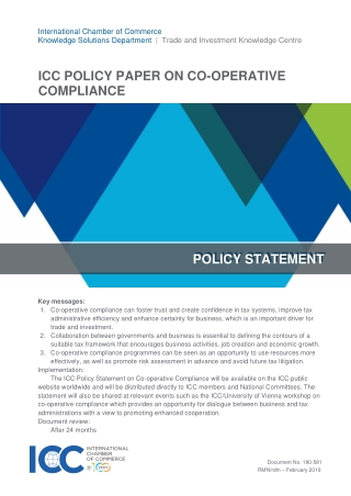 ICC POLICY PAPER ON CO-OPERATIVE COMPLIANCE POLICY STATEMENT POLICY STATEMENT