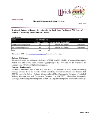 Marwadi Commodity Broker Pvt. Ltd. 3 Dec 2018 Brickwork Ratings withdraws the ratings for the Bank Loan Facilities of