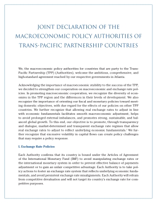Joint Declaration of the Macroeconomic Policy Authorities of Trans-Pacific Partnership Countries