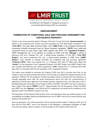 ANNOUNCEMENT TERMINATION OF CONDITIONAL SALE AND PURCHASE AGREEMENT FOR YOGYAKARTA PROPERTY