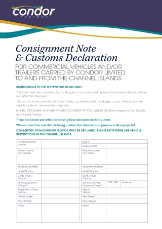 Consignment Note & Customs Declaration