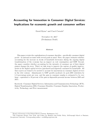 Accounting for Innovation in Consumer Digital Services: Implications for economic growth and consumer welfare