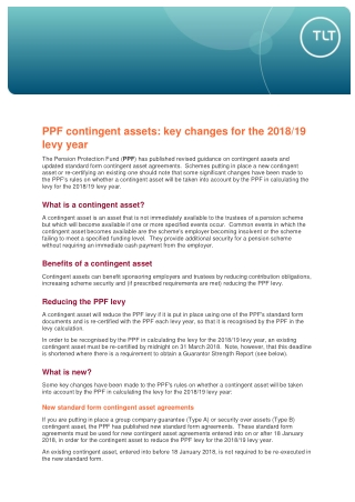 PPF contingent assets: key changes for the 2018/19 levy year