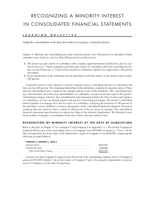 RECOGNIZING A MINORITY INTEREST IN CONSOLIDATED FINANCIAL STATEMENTS