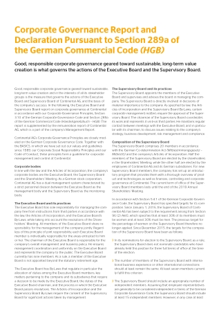 Corporate Governance Report and Declaration Pursuant to Section 289a of the German Commercial Code
