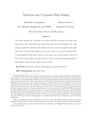Taxation and Corporate Risk-Taking