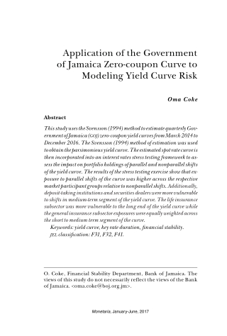 Application of the Government of Jamaica Zero-coupon Curve to Modeling Yield Curve Risk
