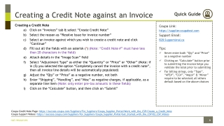 Creating a Credit Note against an Invoice