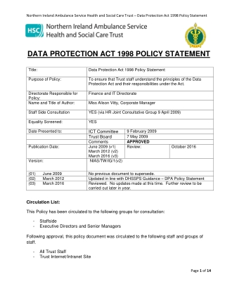 DATA PROTECTION ACT 1998 POLICY STATEMENT