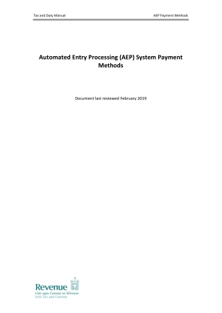 Automated Entry Processing (AEP) System Payment Methods
