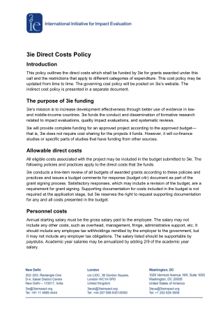 3ie Direct Costs Policy