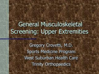 General Musculoskeletal Screening: Furthest points