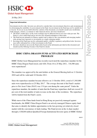 HSBC CHINA DRAGON FUND ACTIVATES REPURCHASE PROGRAM