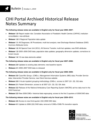 CIHI Portal Archived Historical Release Notes Summary