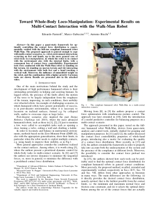 Toward Whole-Body Loco-Manipulation: Experimental Results on Multi-Contact Interaction with the Walk-Man Robot