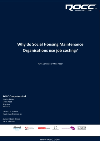 Why Social Housing Maintenance Organisations use job costing?