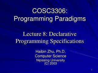 COSC3306: Programming Standards Address 8: Decisive Programming Determinations