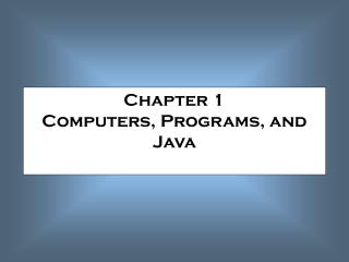 Section 1 PCs, Projects, and Java