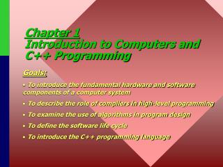 Section 1 Prologue to PCs and C++ Programming