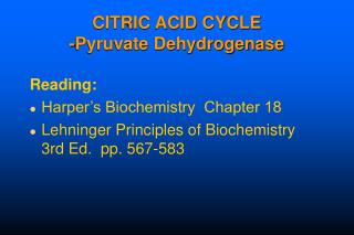 Citrus extract CYCLE - Pyruvate Dehydrogenase