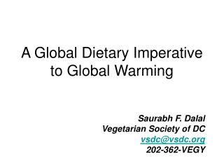 A Worldwide Dietary Basic to A dangerous atmospheric devation